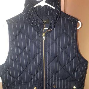 Jcrew Size L Excursion Down Vest in Pinstripe Navy